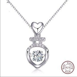 Sterling Silver Necklace Heart Style Movable Charm